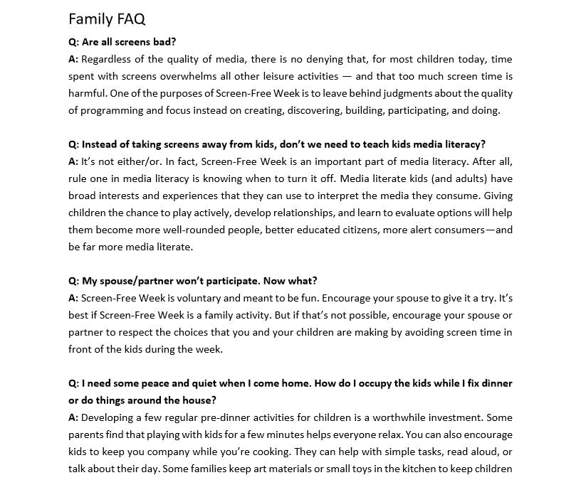 Family FAQ