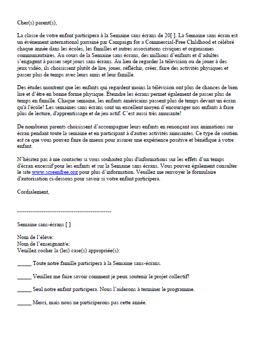 Parent Letter (French)