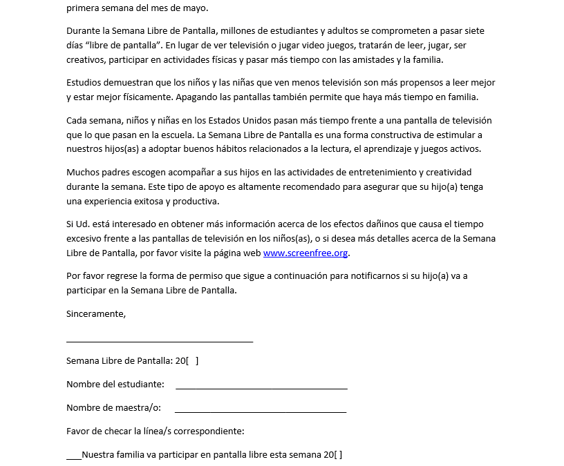 Parent letter (Spanish)