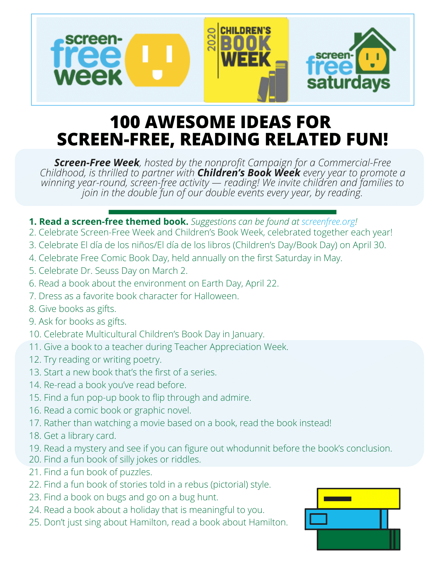 - 100 Screen-Free, Reading-Related Activities - Screen-Free Week