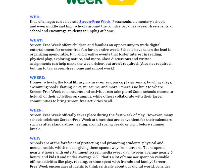 Quick Screen-Free Week Guide for Schools