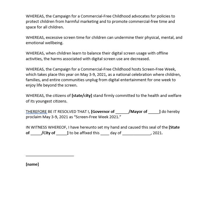 Sample proclamation