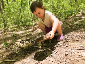 Child playing in the dirt with tree cookie