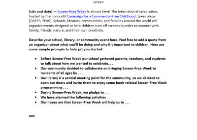 Sample press release