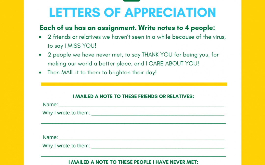 Screen-Free Activity: Letters of Appreciation