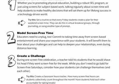 Talking to Your Students About Screen-Free Saturdays